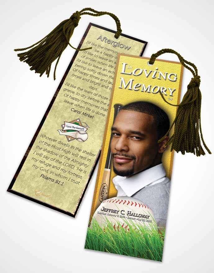 Funeral Bookmark Template Sandy Baseball Star Dark
