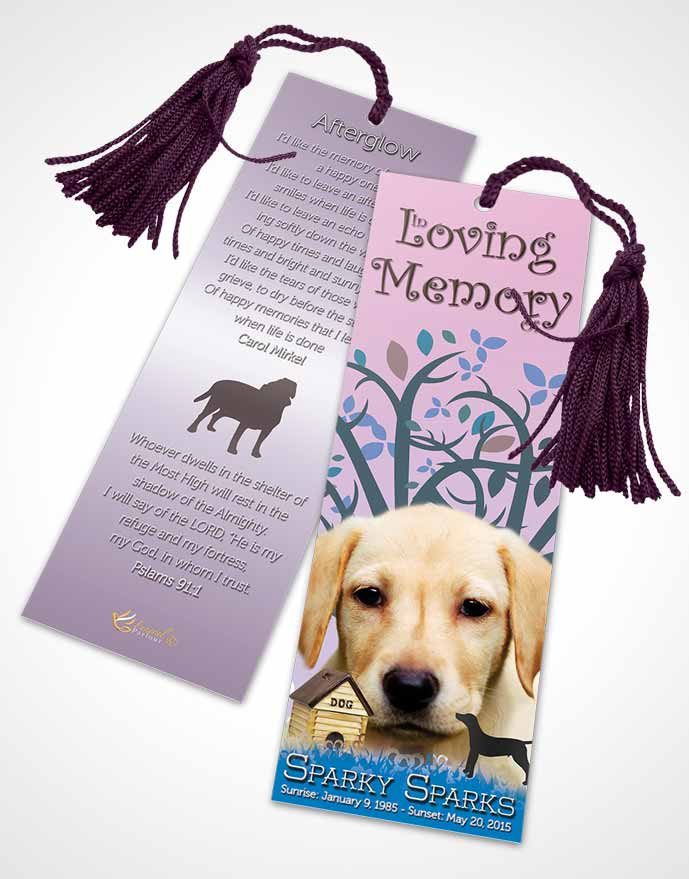 Funeral Bookmark Template Serenity Doggy Heaven