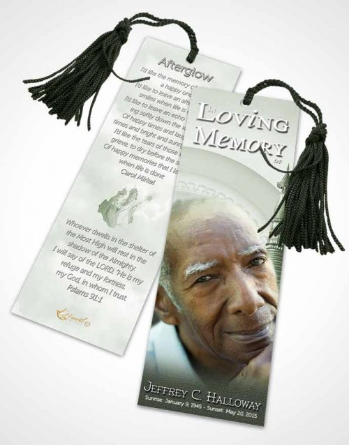 Funeral Bookmark Template Soft Emerald Buddhist Faith