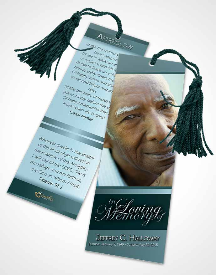 Funeral Bookmark Template Soft Emerald Love Tranquility Light