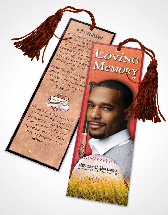 Funeral Bookmark Template Summer Ruby Baseball Star Light