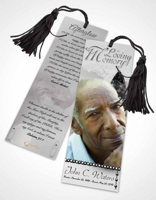 Funeral Bookmark Template Surfers Paradise Black and White