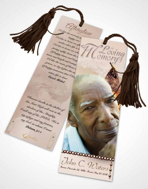 Funeral Bookmark Template Surfers Paradise Golden Waves