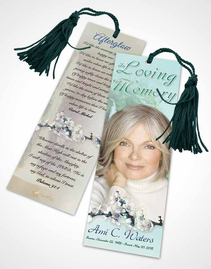Funeral Bookmark Template Waterfall Heaven Evening Peace