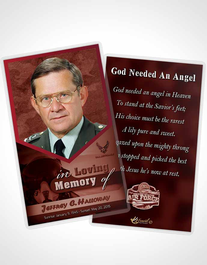 Funeral Prayer Card Template 1st Air Force Airman Sunrise