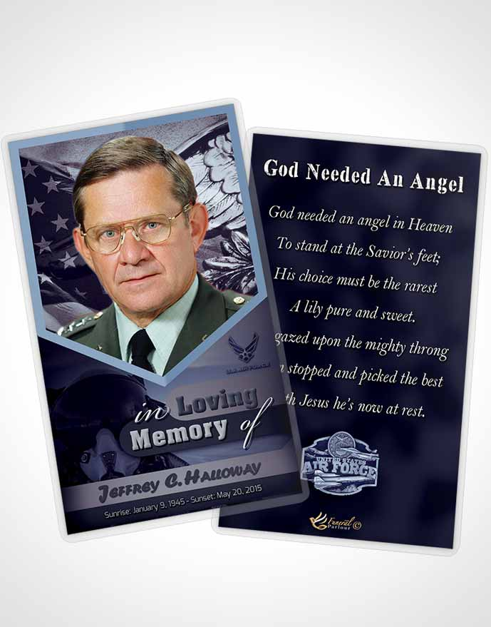 Funeral Thank You Card Template 2nd Air Force Airman Sunset