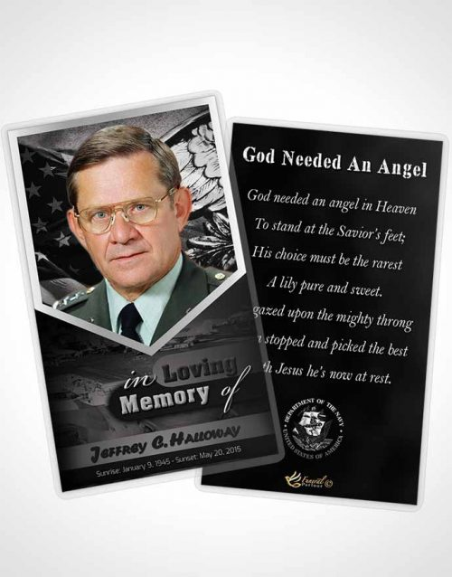 Funeral Prayer Card Template 2nd Navy Sailor Freedom