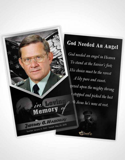 Funeral Prayer Card Template 2nd Veterans Day Freedom