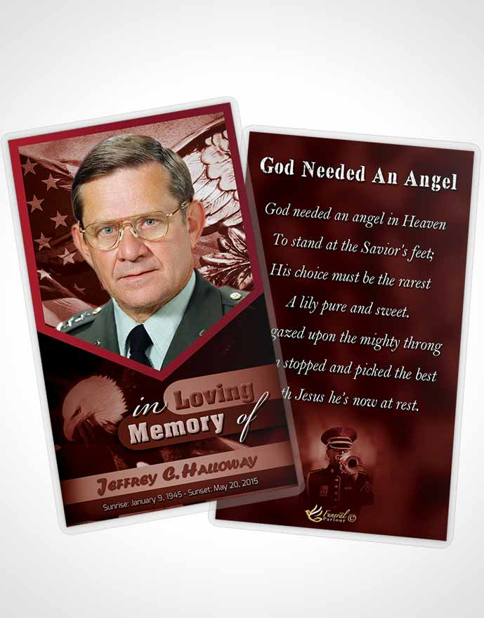 Funeral Prayer Card Template 2nd Veterans Day Sunrise