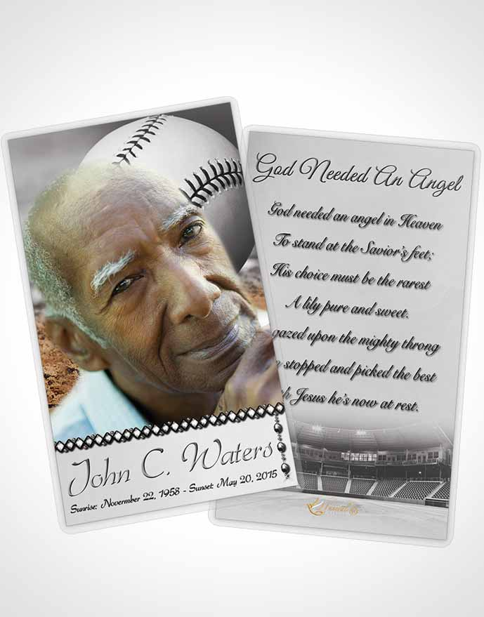 Funeral Prayer Card Template Baseball Day Black and White