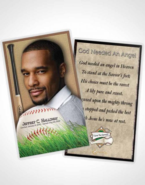 Funeral Prayer Card Template Beach Front Baseball Star Light