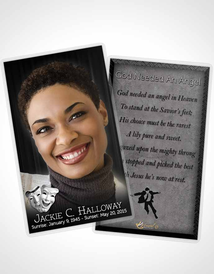 Funeral Prayer Card Template Black and White Actor