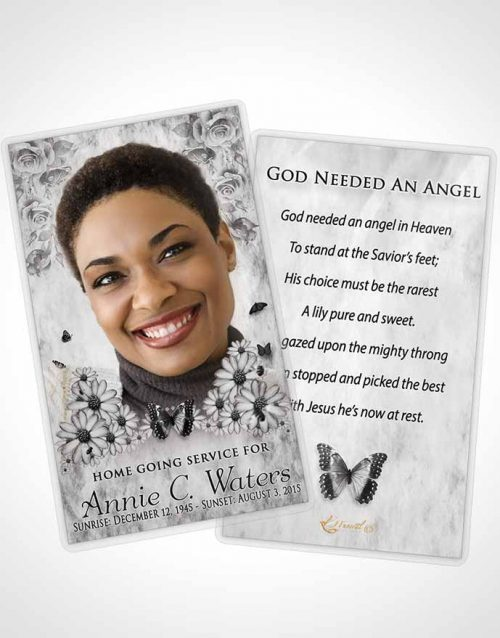 Funeral Prayer Card Template Black and White Sunny Sunflowers