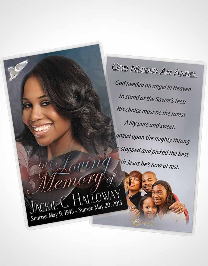 Funeral Prayer Card Template Divinity Evening Smile