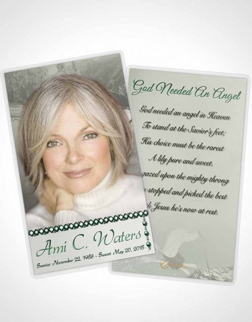Funeral Prayer Card Template Emerald Downhill Skiing