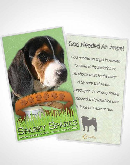 Funeral Prayer Card Template Emerald Sparky the Dog