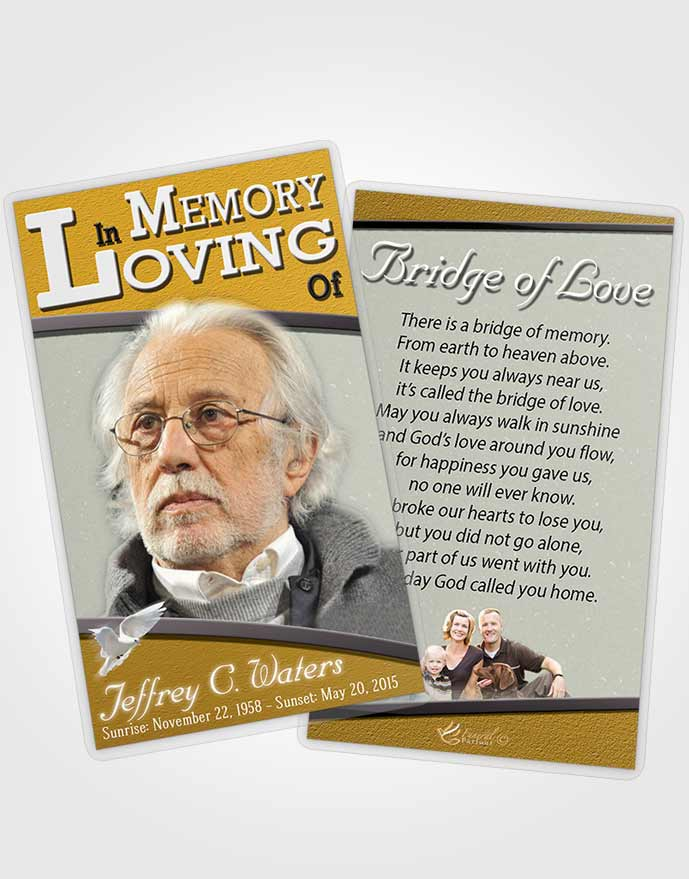Funeral Prayer Card Template Golden Clarity