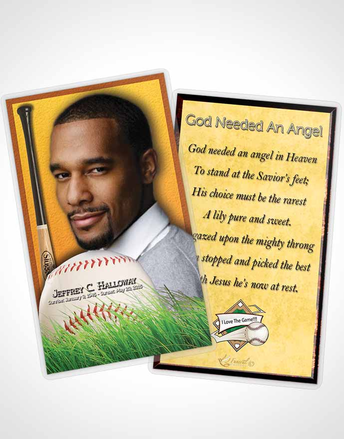 Funeral Prayer Card Template Golden Sunrise Baseball Star Dark