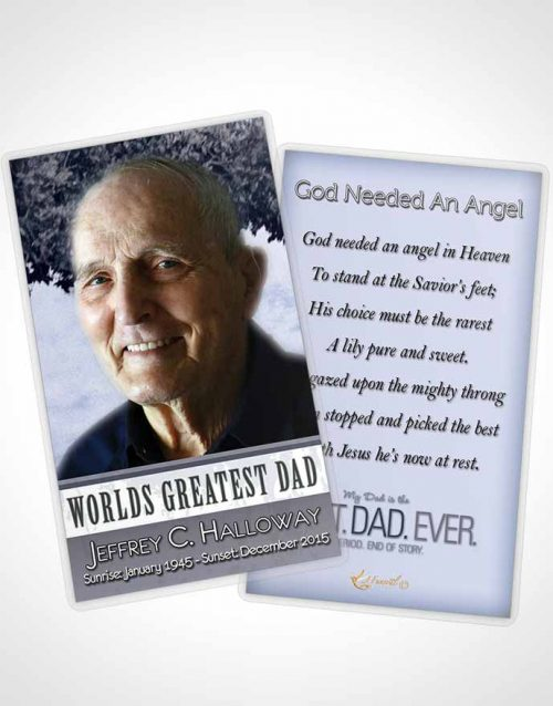 Funeral Prayer Card Template Greatest Dad Soft Ocean