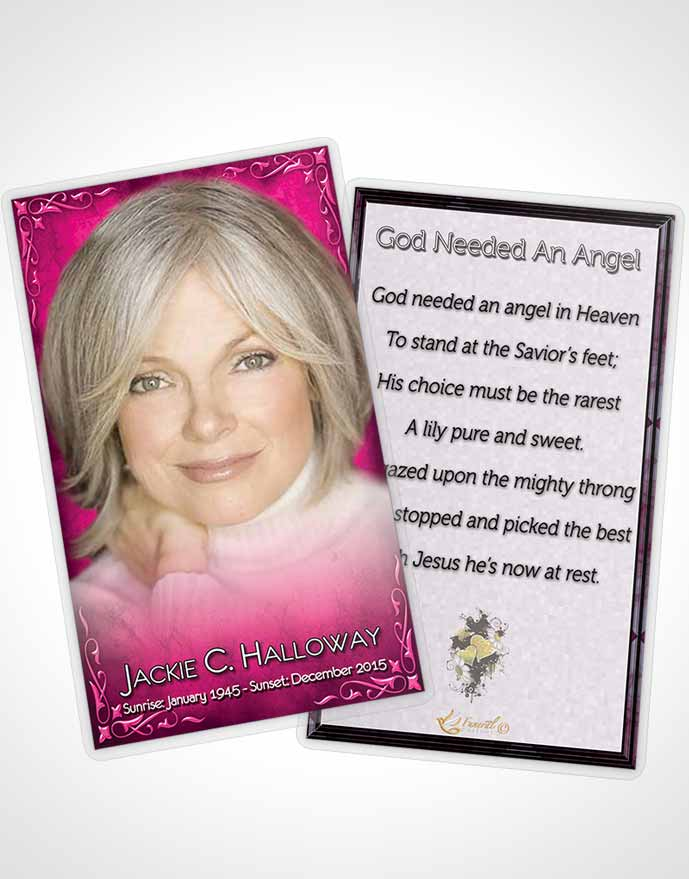 Funeral Prayer Card Template Heavens Touch Hot Pink