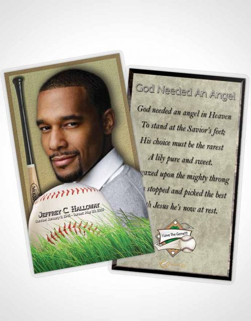 Funeral Prayer Card Template Home Run Baseball Star Dark