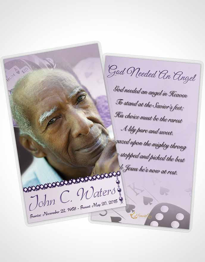 Funeral Prayer Card Template Lavender Aces