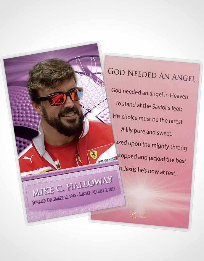 Funeral Prayer Card Template Lavender Love Basketball Honor