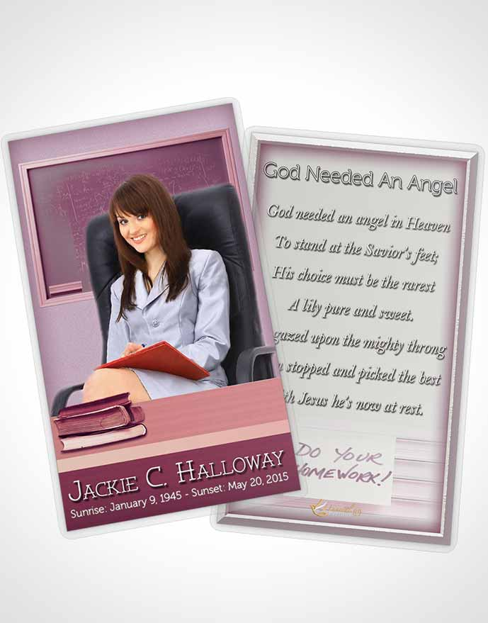 Funeral Prayer Card Template Lavender Teacher Dark