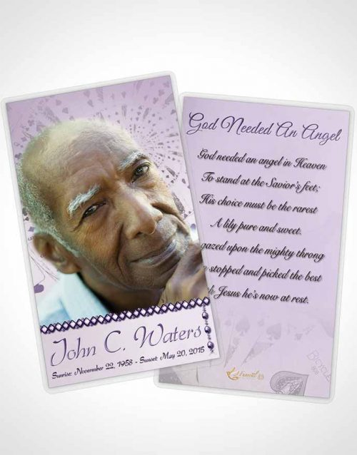 Funeral Prayer Card Template Lets Play Lavender Cards