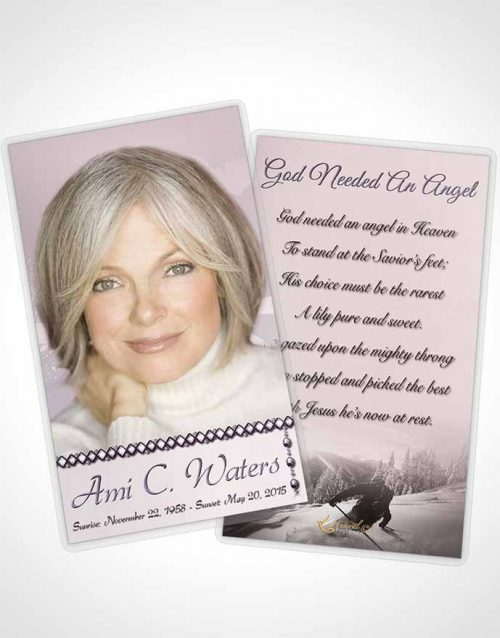 Funeral Prayer Card Template Midnight Ski Jumping