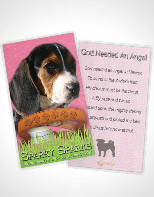 Funeral Prayer Card Template Pinky Sparky the Dog
