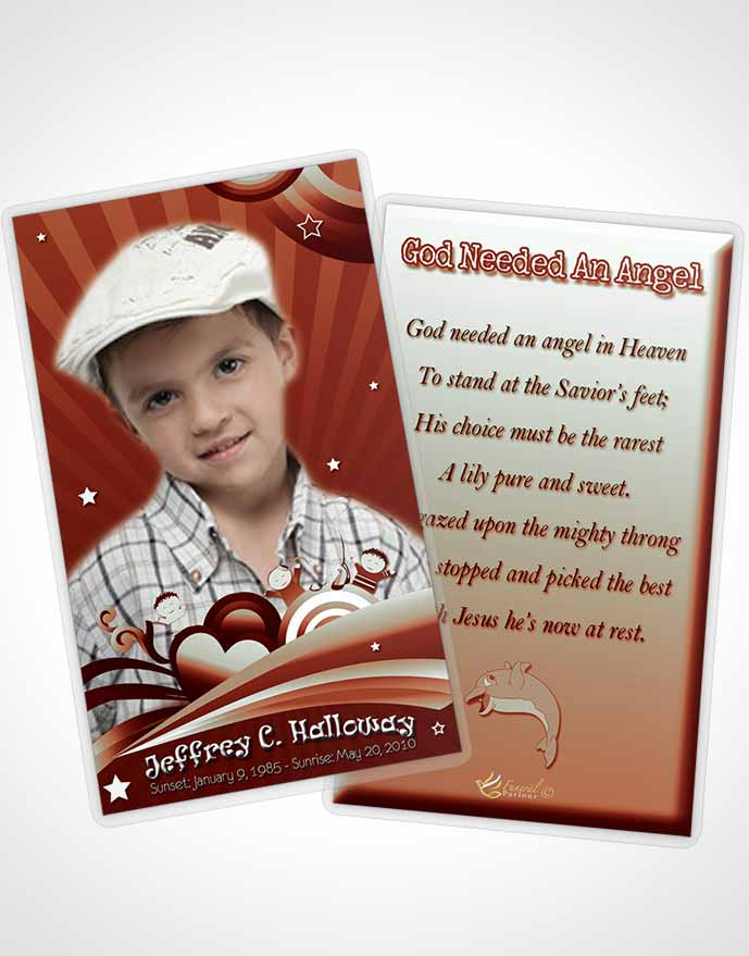Funeral Prayer Card Template Red Laughter Childs Journey