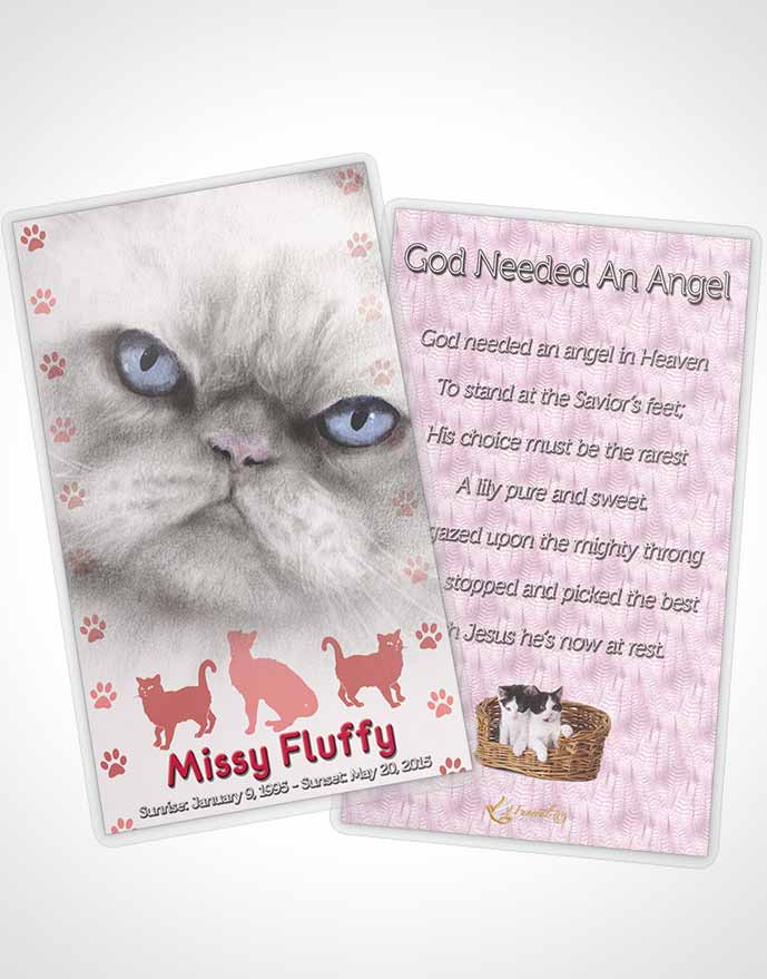 Funeral Prayer Card Template Rosy Fluffy Cat
