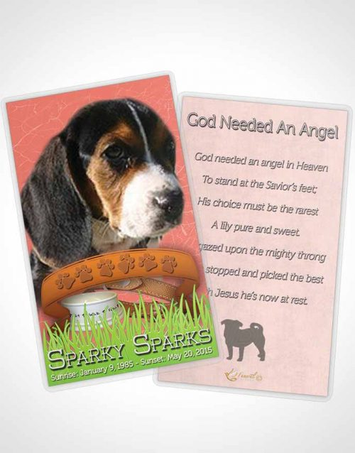 Funeral Prayer Card Template Ruby Sparky the Dog