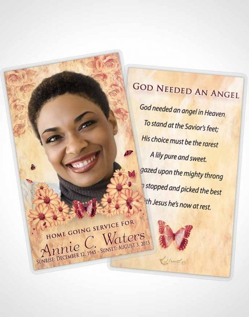 Funeral Prayer Card Template Ruby Sunny Sunflowers