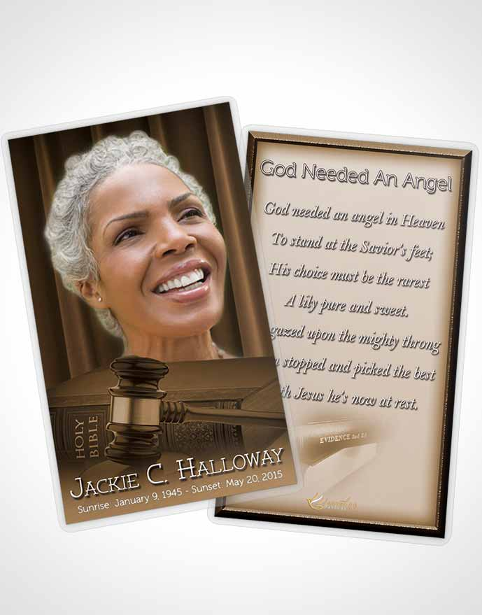 Funeral Prayer Card Template Soft Judge Justice