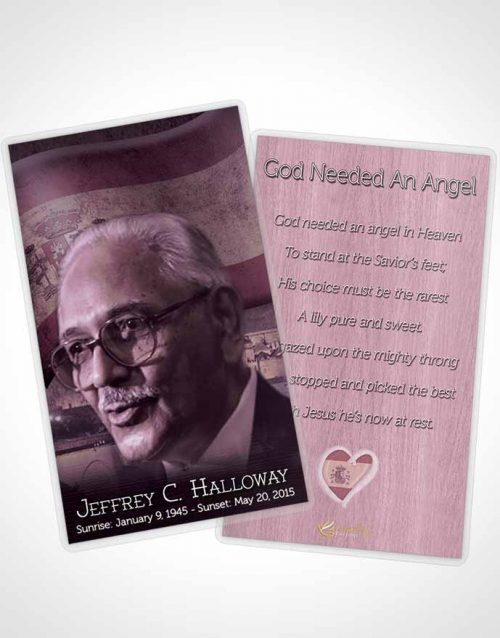 Funeral Prayer Card Template Spanish Burgundy Love