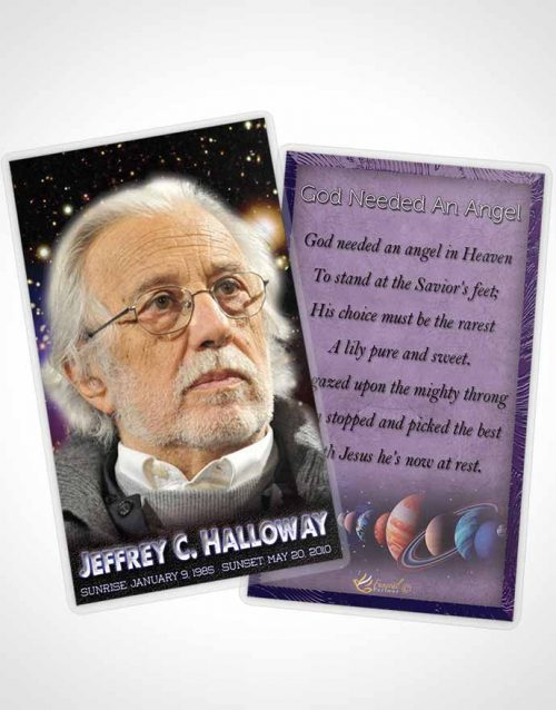 Funeral Prayer Card Template Starry Night Astronomers Sky