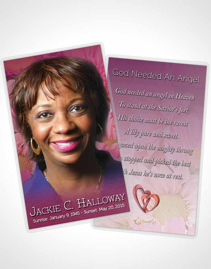 Funeral Prayer Card Template Summer Dream Flower