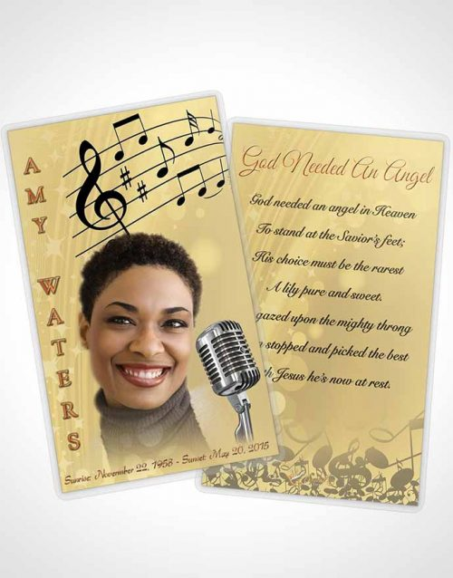 Funeral Prayer Card Template The Sound of Music Gold Love