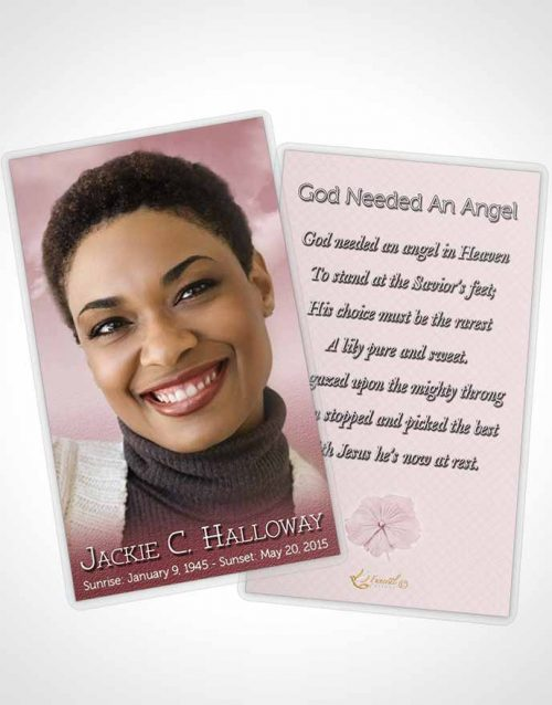 Funeral Prayer Card Template Up in the Pink Sky