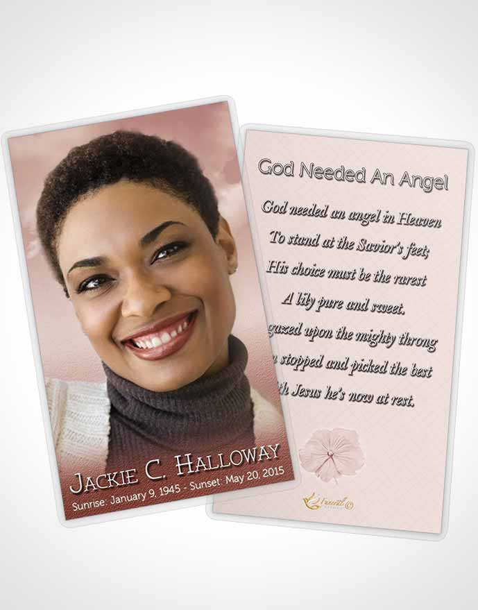 Funeral Prayer Card Template Up in the Strawberry Sky