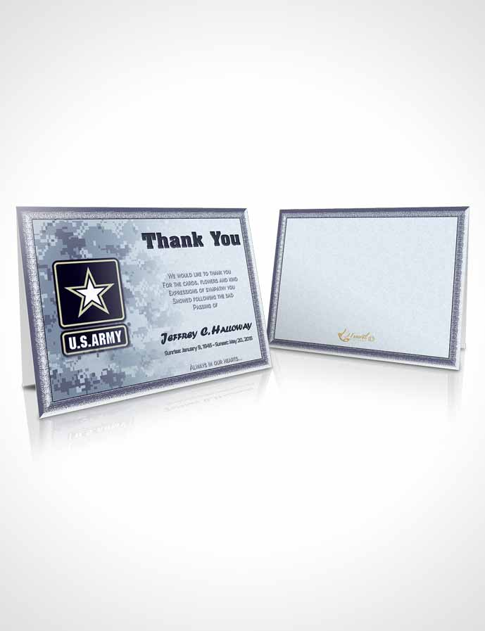 Funeral Thank You Card Template 2nd Army Soldier Sunset