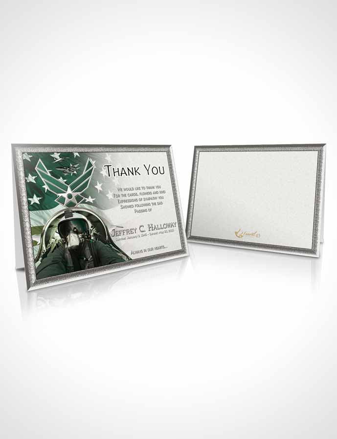 Funeral Thank You Card Template Air Force Emerald Salute