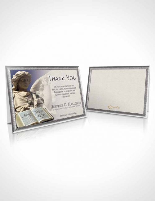 Funeral Thank You Card Template Angel Statue Peace