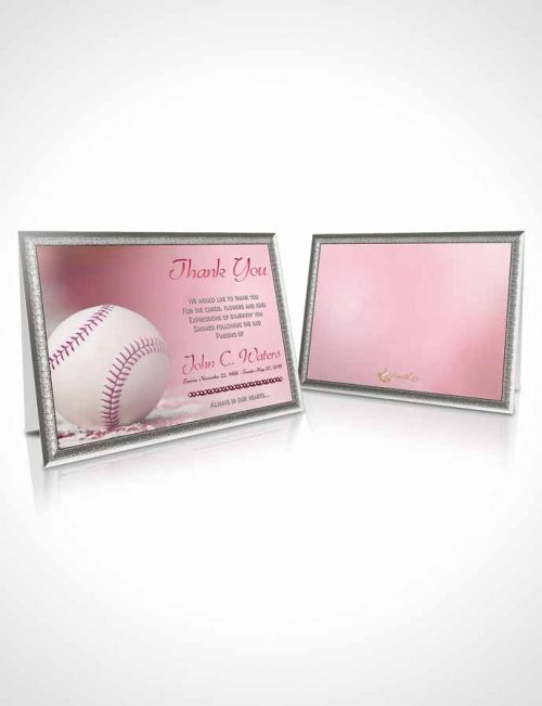 Funeral Thank You Card Template Baseball Day Pink Sunset