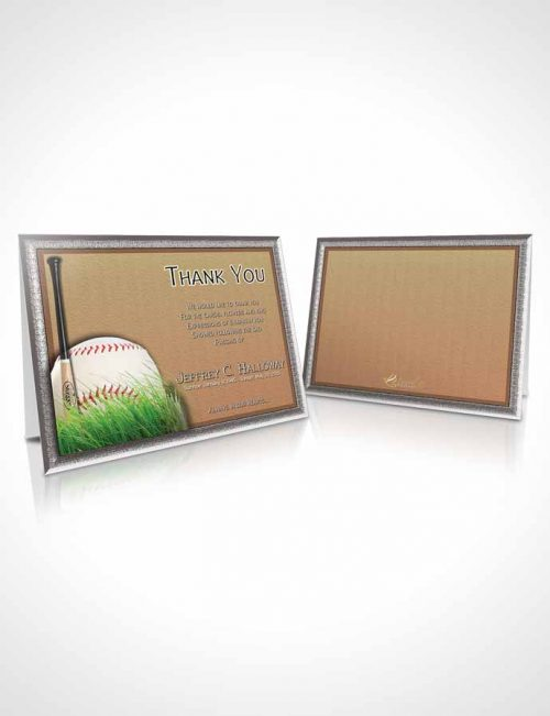 Funeral Thank You Card Template Beach Front Baseball Star Light