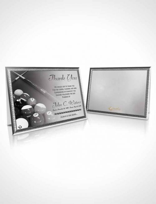 Funeral Thank You Card Template Billiards Fantasy Black and White