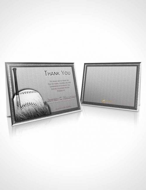 Funeral Thank You Card Template Black and White Baseball Star Light