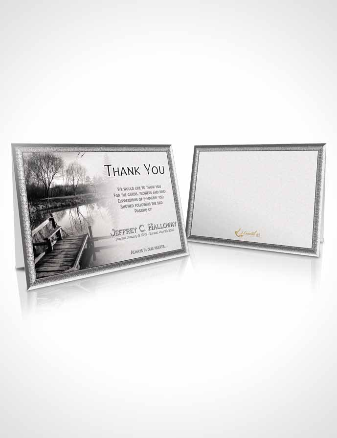 Funeral Thank You Card Template Black and White Fall Getaway